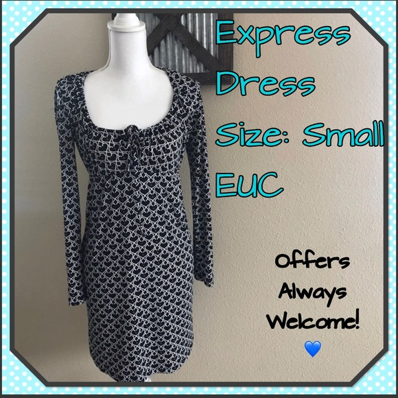 Express Dresses & Skirts - Express Black and White Dress L/S Pretty Dress!